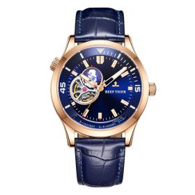 Seattle Columbus Blue Dial Rose Gold Case Leather Strap Mens Watch