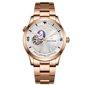 Seattle Columbus White Dial Stainless Steel Rose Gold Watch