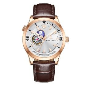 Seattle Columbus White Dial Rose Gold Leather Strap Mens Watch