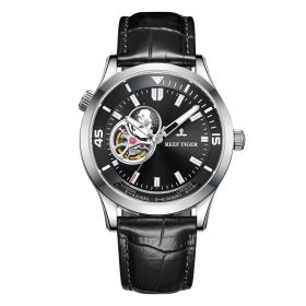 Seattle Columbus Black Dial Steel Case Leather Strap Mens Watch