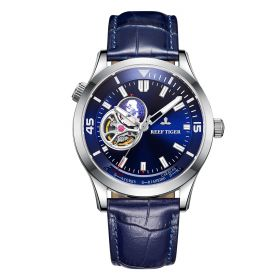 Seattle Columbus Blue Dial Steel Case Leather Strap Mens Watch
