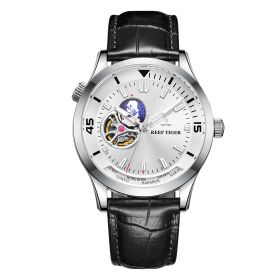 Seattle Columbus White Dial Steel Case Leather Strap Mens Watch