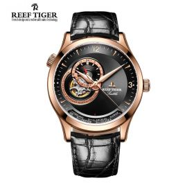 Seattle Sailing Black Dial Rose Gold Mens Watch