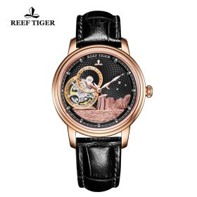 Seattle Singapore Black Dial Rose Gold Black Leather Automatic Watch