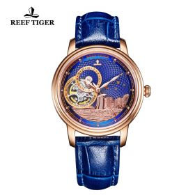 Seattle Singapore Blue Dial Rose Gold Blue Leather Automatic Watch