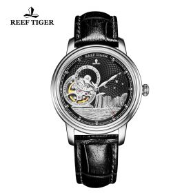 Seattle Singapore Black Dial Steel Black Leather Automatic Watch