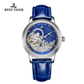 Seattle Singapore Blue Dial Steel Blue Leather Automatic Watch