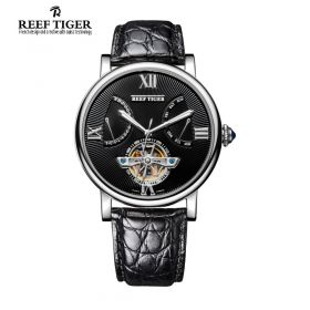 Artist Carved Spiral Automatic Black Dial Black Alligator Leather Steel Case