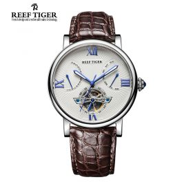 Artist Carved Spiral Automatic White Dial Black Alligator Leather Steel Case