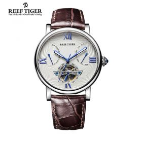 Artist Carved Spiral Automatic White Dial Black Leather Strap Steel Case