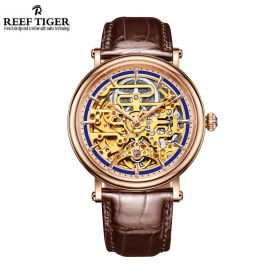 Artist Métiers D'Art Skeleton Dial Calfskin Leather Men's Rose Gold Watch
