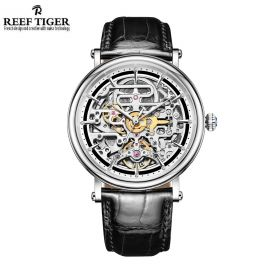 Artist Métiers D'Art Men's Skeleton Dial Genuine Leather Strap Steel Watch