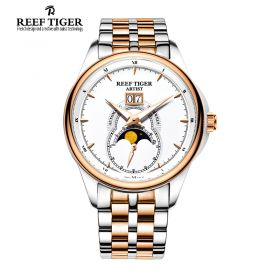 Artist Knighthood White Dial Night Luminescent Steel/Rose Gold Mens Watch