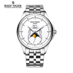 Artist Knighthood  White  Dial Night  Luminescent  Full Stainless Steel Mens  Watch