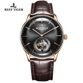 Seattle Tourbillon Black Dial Rose Gold Brown Leather Automatic Watch