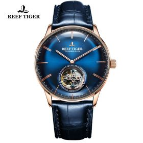Seattle Tourbillon Blue Dial Rose Gold Blue Leather Automatic Watch