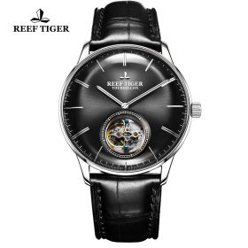 Seattle Tourbillon Black Dial Steel Black Leather Automatic Watch