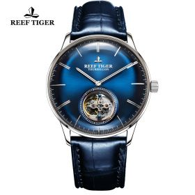 Seattle Tourbillon Blue Dial Steel Blue Leather Automatic Watch