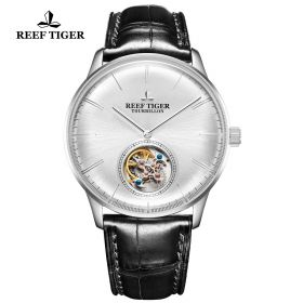 Seattle Tourbillon White Dial Steel Black Leather Automatic Watch