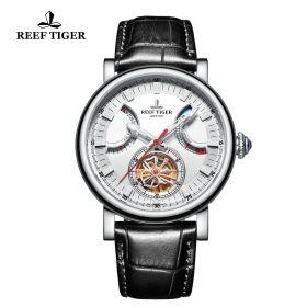 Artist Photographer Steel Case White Dial Leather Strap Tourbillon Watch