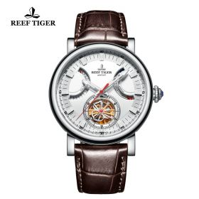Artist Photographer Steel Case White Dial Brown Leather Strap Tourbillon Watch