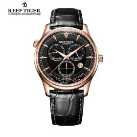 Artist Geographer World Time with Day Date Month Black Dial Rose Gold Watch