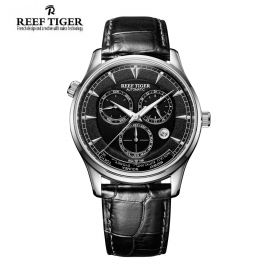 Artist Geographer World Time with Day Date Month Black Dial Steel Watch