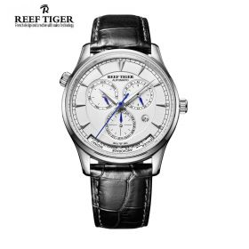 Artist Geographer World Time with Day Date Month White Dial Steel Watch