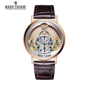 Artist Rotation Skeleton Dial Silver Inner Bezel Rose Gold Case Quartz Watch