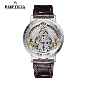 Artist Rotation Skeleton Dial Silver Inner Bezel Steel Case Quartz Watch