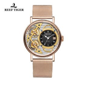 Artist Magician Skeleton Dial Rose Gold Case Automatic Watch