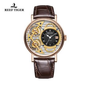 Artist Magician Skeleton Dial Rose Gold Case Leather Strap Automatic Watch