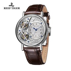 Artist Magician Skeleton Dial Steel Case Leather Strap Automatic Watch
