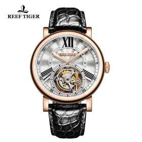Artist Graver White Dial Rose Gold Case Tourbillon Watch