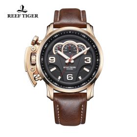 Aurora Rally S2 Rose Gold Black Dial Black Leather Strap Watch