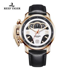 Aurora Rally S2 Rose Gold White/Black Dial Black Leather Strap Watch