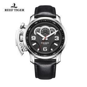 Aurora Rally S2 Steel Black Dial Black Leather Strap Watch