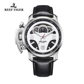 Aurora Rally S2 Steel White/Black Dial Black Leather Strap Watch