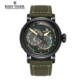 Aurora Pilot Green Dial Green Leather PVD Case Automatic Men's Watch