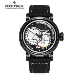 Aurora Pilot Black Dial Black Leather PVD Case Automatic Men's Watch