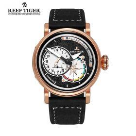 Aurora Pilot Black Dial Black Leather Rose Gold Case Automatic Men's Watch