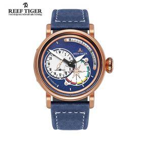 Aurora Pilot Blue Dial Blue Leather Rose Gold Case Automatic Men's Watch