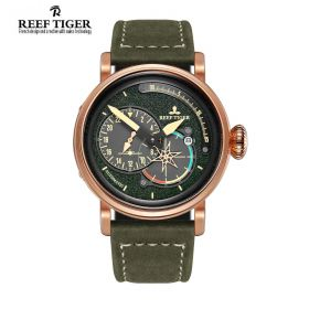 Aurora Pilot Green Dial Green Leather Rose Gold Case Automatic Men's Watch