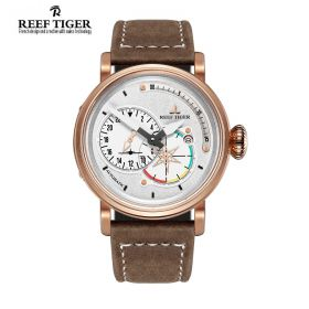 Aurora Pilot  White Dial Brown Leather Rose Gold Case Automatic Men's Watch