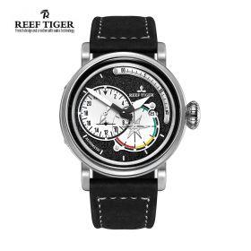 Aurora Pilot Black Dial Black Leather Steel Case Automatic Men's Watch