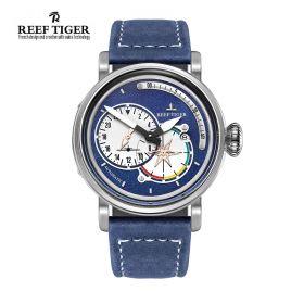 Aurora Pilot Blue Dial Blue Leather Steel Case Automatic Men's Watch