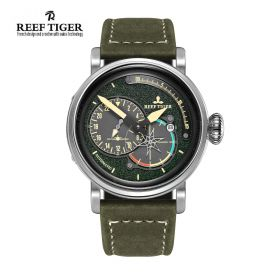 Aurora Pilot Green Dial Green Leather Steel Case Automatic Men's Watch
