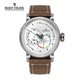 Aurora Pilot White Dial Brown Leather Steel Case Automatic Men's Watch