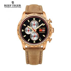 Aurora Racing Chrono Black Dial Brown Leather Rose Gold Men's Quartz Watch