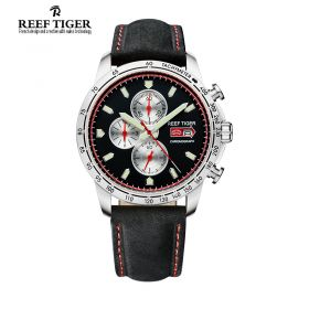Aurora Racing Chrono Black Dial Black Leather Stainless Steel Men's Quartz Watch